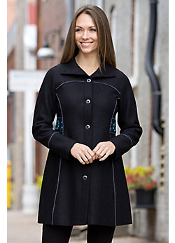 Letitia Embroidered Alpaca-Blend Wool Coat