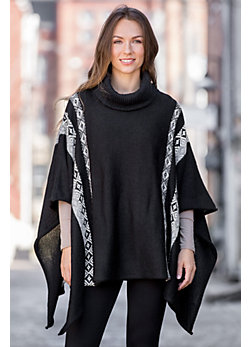 Indigenous Fair Isle Alpaca Wool Sweater Poncho