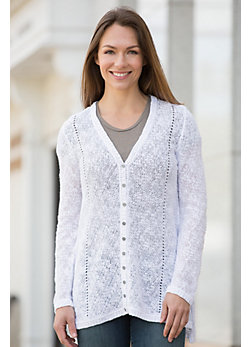 Indigenous Relaxed Sheer Organic Cotton Cardigan Sweater