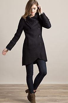 Winter Alpaca Wool-Blend Coat