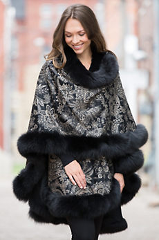 Eleanor Cashmere Cape with Fox Fur Trim