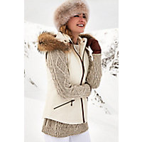 Image of Aisling Cotton-Blend Vest with Raccoon Fur Trim