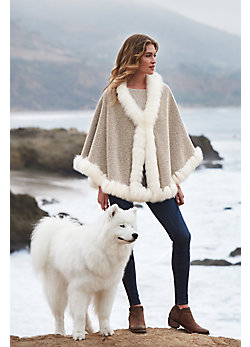 Bella Alpaca Wool Cape with Fox Fur Trim