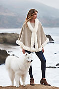 Women's Bella Alpaca Wool Cape with Fox Fur Trim