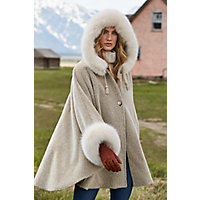 Women's Skye Hooded Alpaca Wool Cape With Fox Fur Trim, Melange / Camel Western & Country