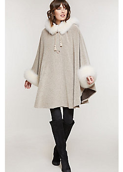 Women's Skye Hooded Alpaca Wool Cape with Fox Fur Trim