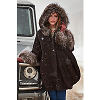 Women's Ashby Hooded Alpaca Wool Cape With Fox Fur Trim, New Brown / Silver Western & Country