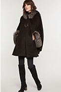 Women's Ashby Hooded Alpaca Wool Cape with Fox Fur Trim