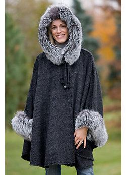 Raven Hooded Alpaca Wool Cape with Fox Fur Trim