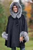 Raven Hooded Alpaca Wool Cape with Fox Fur Trim