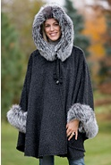 Women's Raven Hooded Alpaca Wool Cape with Fox Fur Trim