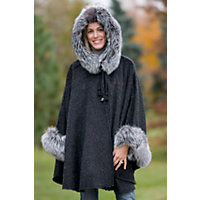 Women's Raven Hooded Alpaca Wool Cape With Fox Fur Trim Western & Country
