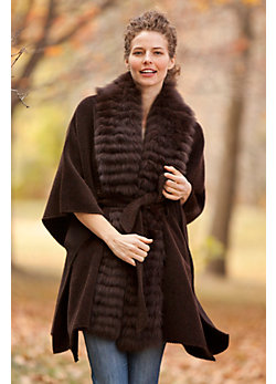 Women's Romany Alpaca Wool Cape with Fox Fur Trim