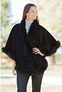 Women's Darla Alpaca Wool Cape with Fox Fur Lace Trim