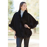 Women's Darla Alpaca Wool Cape With Fox Fur Lace Trim Western & Country