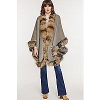 Image of Abigail Alpaca Wool Cape with Cross Fox Fur Trim