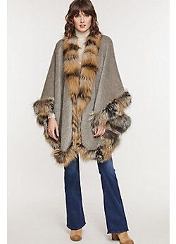 Women's Abigail Alpaca Wool Cape with Cross Fox Fur Trim