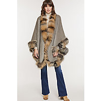 Women's Abigail Alpaca Wool Cape With Cross Fox Fur Trim Western & Country