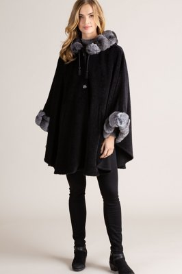 Louise Alpaca Wool Cape with Chinchilla Fur Trim