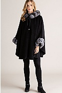 Women's Louise Alpaca Wool Cape with Chinchilla Fur Trim