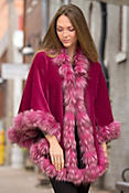 Women's Henrietta Alpaca Wool Cape with Silver Fox Fur Trim