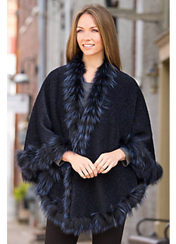 Celeste Peruvian Alpaca Wool Cape with Silver Fox Fur Trim