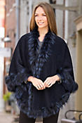 Women's Celeste Peruvian Alpaca Wool Cape with Silver Fox Fur Trim