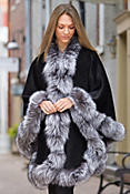 Women's Cheri Peruvian Alpaca Wool Cape with Silver Fox Fur Trim