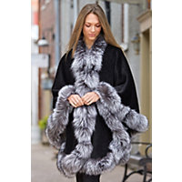 Cheri Peruvian Alpaca Wool Cape with Silver Fox Fur Trim $1,995.00 AT vintagedancer.com