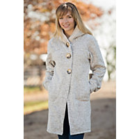 Women's Reesa Hooded Fleece Sweater Coat, Sand Heather, Size Large (10-12) Western & Country