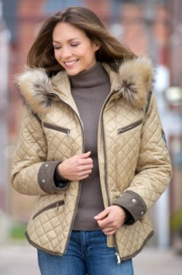 M. Miller Krista Coat with Raccoon Fur Trim