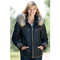 Women's M. Miller Krista Coat With Raccoon Fur Trim, Black, Size Xsmall (2-4) Western & Country