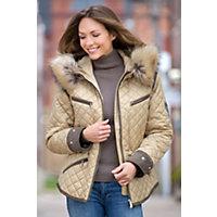 Women's M. Miller Krista Coat With Raccoon Fur Trim, Camel, Size Medium Western & Country