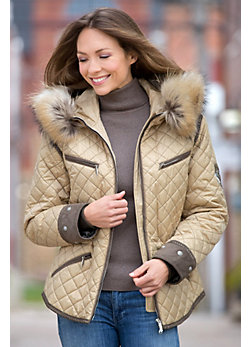 Women's M. Miller Krista Coat with Raccoon Fur Trim