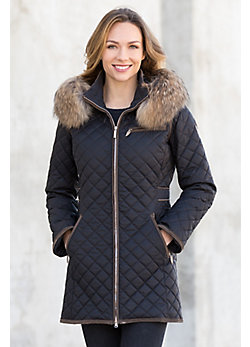Women's M. Miller Strella Coat with Finn Raccoon Fur Trim