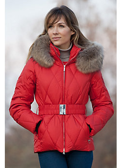 Women's M. Miller Kate Quilted Down Jacket with Raccoon Fur Trim