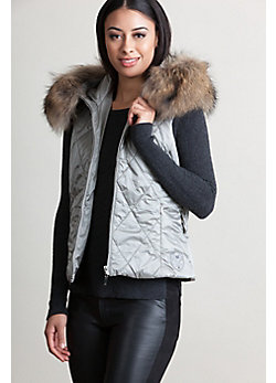 Women's M. Miller Kym Hooded Vest with Raccoon Fur Trim