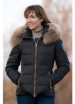 Women's M. Miller Gretchen Quilted Down Jacket with Raccoon Fur Trim