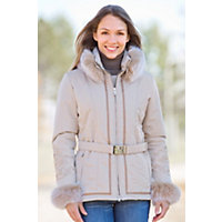 Women's M. Miller Orla Parka With Fox Fur Trim, Sand / Blush, Size Small (4-6) Western & Country