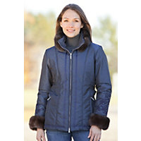 Women's M. Miller Orla Parka With Sable Fur Trim, Navy / Sable, Size Medium (8-10) Western & Country