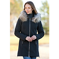 Women's M. Miller Astrid Hooded Jacket With Raccoon Fur Trim, Black, Size Small (4-6) Western & Country