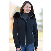 Women's M. Miller Alize Hooded Jacket With Detachable Fox Fur Trim, Black, Size Xsmall (2) Western & Country