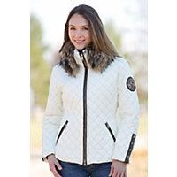 Women's M. Miller Kayla Jacket With Raccoon Fur Trim, White, Size Medium (8-10) Western & Country