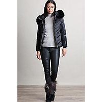 M. Miller Randi Ski Jacket with Fox Fur Trim, BLACK/BLACK