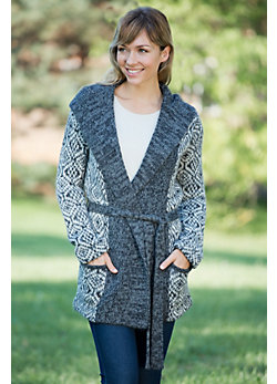 Women's Geo Wrap Alpaca Wool Cardigan Sweater