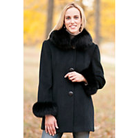 Women's Juliette Cashmere-Blend Wool Coat With Fox Fur Trim, Black, Size Small (4-6) Western & Country