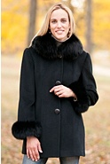 Women's Juliette Cashmere-Blend Wool Coat with Fox Fur Trim