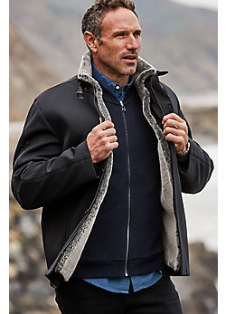 Men's Stuart Microfiber Coat with Sheepskin Lining