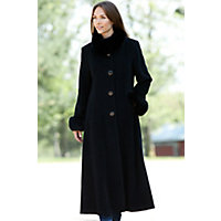 Women's Lydia Cashmere Coat With Fox Fur Trim, Black / Black, Size Large (10) Western & Country