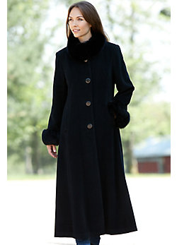 Women's Lydia Cashmere Coat with Fox Fur Trim